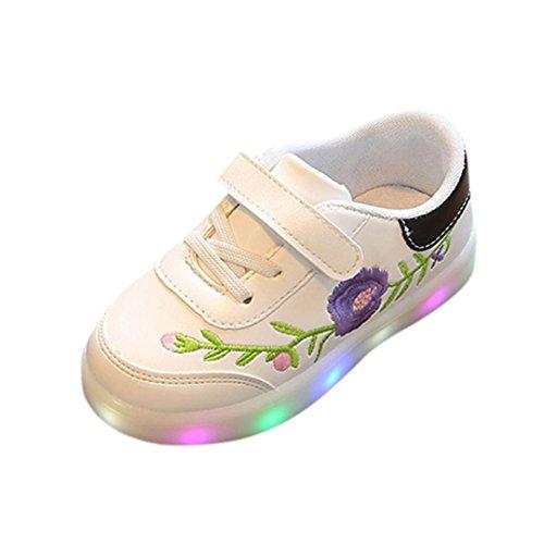 FNKDOR Kinder Baby Mädchen Blume LED Leucht Schuhe Turnschuhe Weiß Sneaker(24,Schwarz)