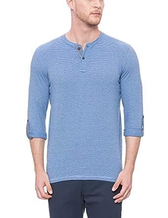 d5c6c5e51774 BASICS Muscle Fit Estate Blue Henley T Shirt: Amazon.in: Clothing ...