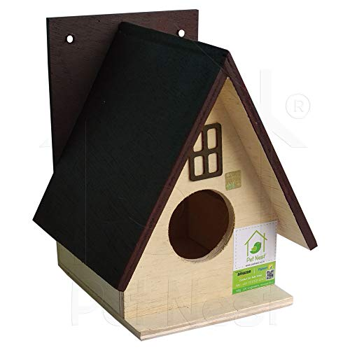 PetNest Beautiful Bird House Nest Box for Sparrow and Garden Birds Wood Bird Nest Garden Outdoor Decor for Attracting Birds Maroon - DECO3