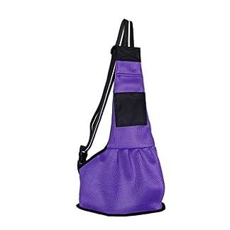 JIAHG Stylish Pet Sling Carrier Small Cat Dog Pet Supplies Bag Pet Bag Messenger Tote Single Shoulder Bag Safe and Comfortable Pet Carrier Purse Best Pet Travel Accessories (L, purple) 41Uh384tRaL