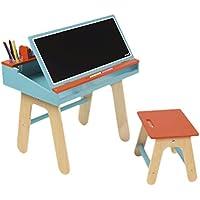 Janod Holzspielzeug - Schreibtisch-Kombination mit Zubehör, Größe 60 x 40,5 x 58,5 cm, Blau preisvergleich bei kinderzimmerdekopreise.eu