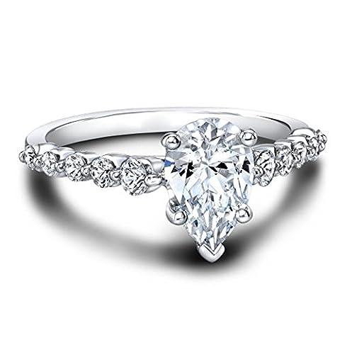 Forever Diamond - 14K White Gold 14 Karat Weißgold Tropfenschliff Hochfeines Weiß +/River (D) Diamant