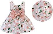 Upxiang Vestito Bambina Neonata Abbigliamento Estivo Senza Maniche Fragola Stampa Casual Carino Compleanno Pri