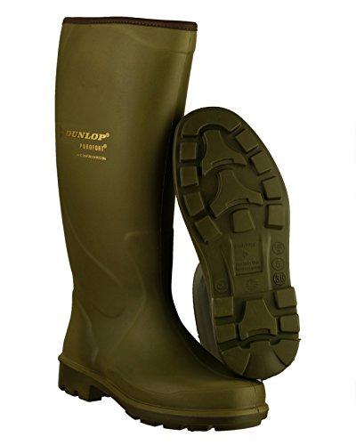 Dunlop Hommes Puro Terroir Bottes De Pluie En Caoutchouc Imperméable Sans Lacets Green