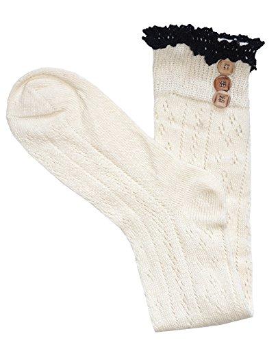Damen Baumwoll Kniestrümpfe mit Baumwollspitze und Schaltflächen offen gewebten Häkeln Pelerine/Pointelle Mode-Socken für Mädchen (1 Paar Elfenbein) - Weiße Baumwolle Mit Pointelle