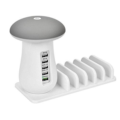 Asonter Pilz-LED-Nachtlicht 5-Port USB-Schnellladestation Universal-Desktop-Tablet und Smartphone-Ladegerät
