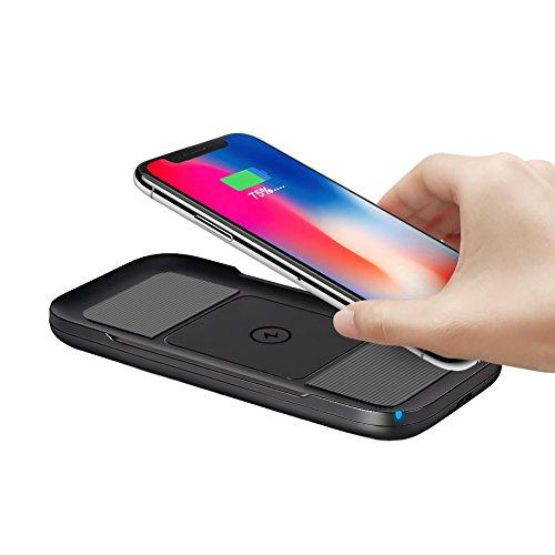 ARINO Chargeur Sans Fil Rapide Qi Certifié 5W 7.5W pour iPhone X/iPhone 8/8 Plus Chargeur à Induction QI Chargeur Quick Charge 10W pour Samsung Galaxy S8/S8+/Note 8/S7/S7 Edge Charge Rapide Noir et Gris