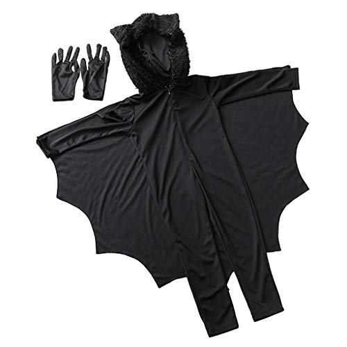 MagiDeal Kinder Fledermaus Kostüm Overall Flügeln mit Handschuhe -