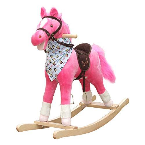 Rocking Horse Nattou Schaukeltiere,Kind Aus Holz Schaukelpferd Mit Sound Plüsch Schaukelpferd Baby Rocker Schaukelpferd Für Baby 3 Monate Oben,Pink