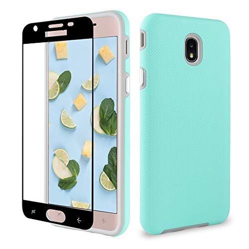J7 2018 Samsung Case/J7 Prime/J7 Aero/J7 Star/J7 Refine/J7 Top Case, ipush Full Body Protective Shockproof Case Cover with Tempered Glass Screen Protector, Mint