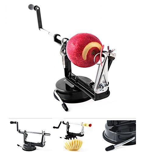 Grafner 3in1 Delux Apfelschäler | Schälen - Schneiden - Entkernen im handumdrehen | Farbwahl rot grün schwarz | Sparschäler Apfelschneider Apfelentkerner Gemüseschäler Farbe Schwarz