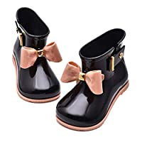 Baiyouli Rubber Waterproof Wide Toes Rain Boots with BOW-TIE for Toddler Little Big Kids Sizes19 to 31 & Ages 0.5 to 6