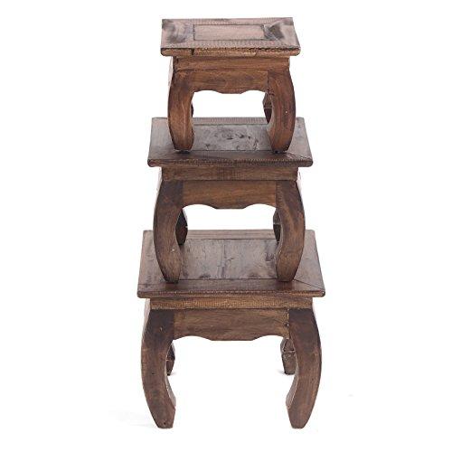 DESIGN DELIGHTS Vintage OPIUMTISCH Set East 35 | 3tlg. braun, Recyclingholz | Beistelltische, Blumenhocker, Dekotische, Couchtische -