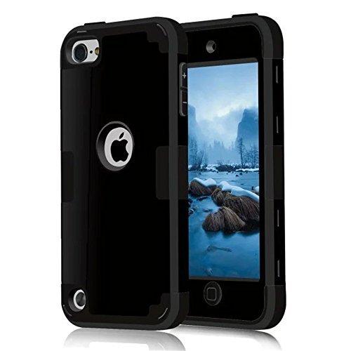 MCUK iPod Touch 6Fall, 3in 1Hybrid Cover Silikon Gummi-Haut, Harte Combo Bumper Kratzfeste Schutzhülle für Apple iPod Touch 56. Generation, schwarz - Bumper 5 Ipod Case Schwarz