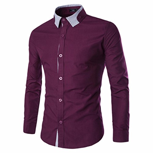 Men's Vestidos Camisa Long Sleeve Dress Shirts purple
