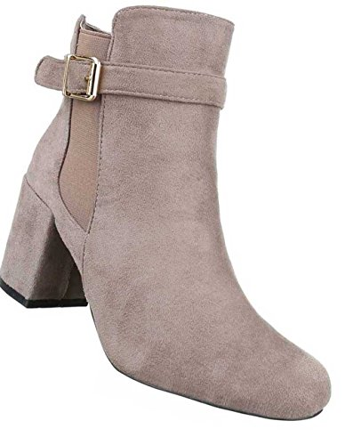 Damen Stiefeletten Schuhe Boots Schwarz Beige
