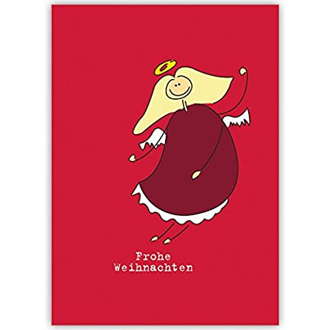 20er Set Lustige Unternehmen Weihnachtskarten mit Weihnachts Engel auf rot, innen blanko/ weiß als geschäftliche Weihnachtsgrüße / Neujahrskarte / Firmen Weihnachtskarte für Kunden, Geschäftspartner, Mitarbeiter: Frohe Weihnachten