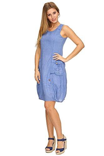Zarlena Damen Sommerkleid Leinenkleid Spitzenapplikationen ärmellos Jeans