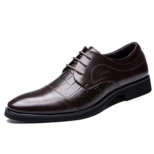 GRRONG Herren-Leder-Schuhe Klassisches Geschäft-formales Kleid Schwarz Braun Brown ErcB1VEs