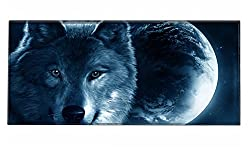 Silent Monsters Gaming & Office Mouse Mat Size Xxl (90 X 40 Cm) Design: Wolf
