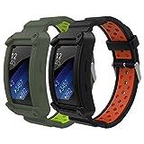 MoKo Compatibile con Gear Fit2 / Gear Fit2 PRO Cinturino, [2-Pack] Braccialetto Morbido Sportivo di Ricambio in Silicone, 5.9'-8.3' (150mm-210mm) - Nero & Rosso + Grigio & Verde