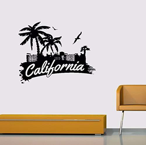 (Pbldb Kalifornien Zeichen Palmen Seevögel Home Dekoration Aufkleber Vinyl Wandaufkleber 55X59Cm)