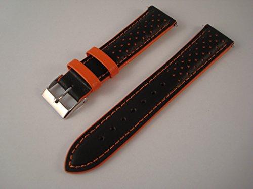 correa-de-reloj-de-pulsera-negro-piel-rojo-o-naranja-para-deportes-relojes-black-orange-22mm-lug
