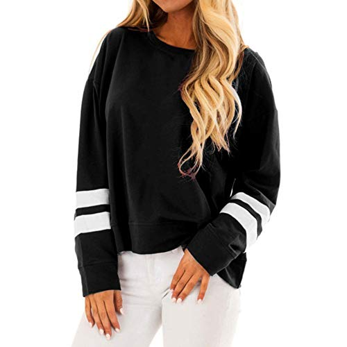 Damen Langarmshirt Baseball Langarm T-Shirt Rundhals Sweatshirt Frauen Patchwork Blusen Top Herbst von Sannysis (L, Schwarz-2)