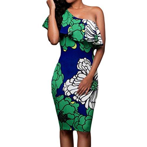 kleid damen Kolylong® Frauen Sommer trägerlosen elegant gedruckten Kleid Bodycon Mini Kleid Strandkleid Party Kleid Böhmisches kleid (XL, Grün) (Kleid Chiffon Trägerlosen)