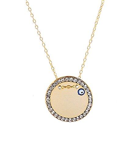 Remi Bijou - Wunderschöne Halskette Anhänger - Gravurplatte Münze Rund Scheibe mit einem blauen Auge - Gold Farbe Zirkonia Strass