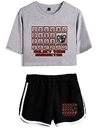 Silver Basic Stranger Things Imprimiendo Camisetas y Shorts Ropa Deportiva de Verano para Niñas y Mujeres