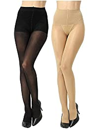 Zoom FASHION WEAR Women's Stocking / Suspender Black And Skin Combo Pantyhose Pack Of 2