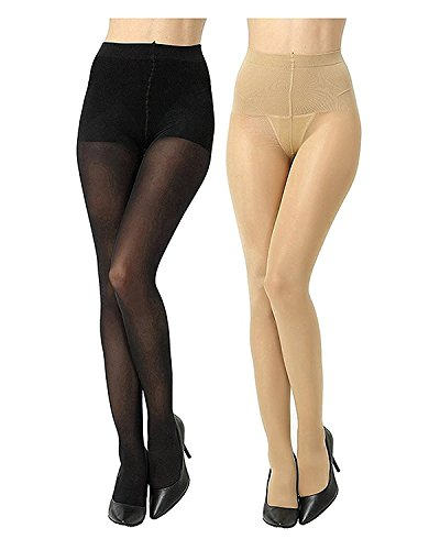 Zoom FASHION WEAR Women\'s Stocking / Suspender Black And Skin Combo Pantyhose Pack Of 2
