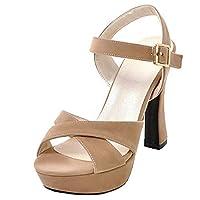 Vitalo Womens Peep Toe Block Heel Platform Sandals Criss Cross Pumps Size 2.5UK,Beige