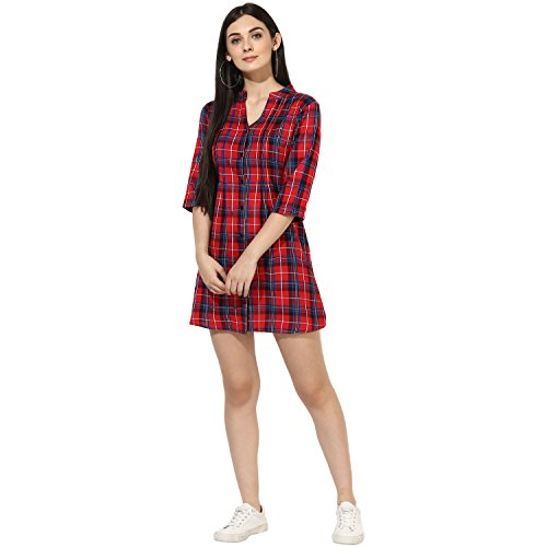 One Femme Women's Plaid Check Print Tunic (OFTNT012_Multicolor 27_Large)
