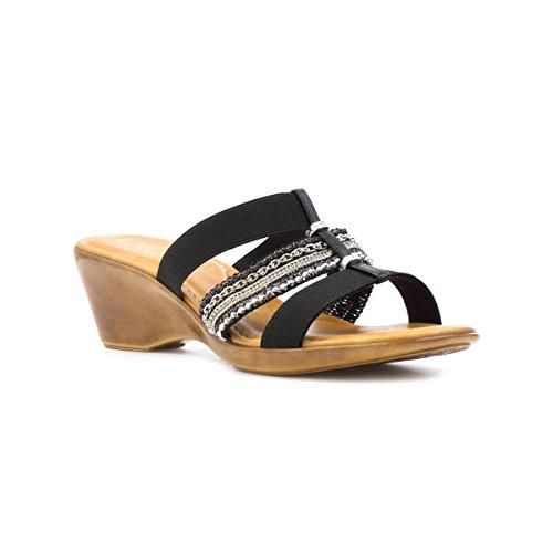 Lotus Womens Black Wedge Mule Sandal - Size 5 UK - Black