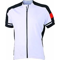 James & Nicholson Men's Bike-T Full Zip - Camiseta de ciclismo para hombre, color blanco, talla XL