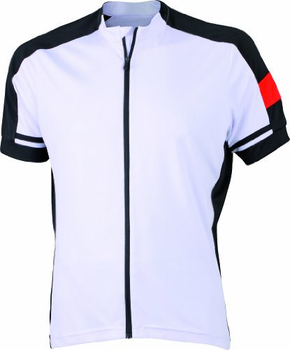 James & Nicholson Herren Sport Top Radtrikots Bike-T Full Zip weiß (white) Medium -