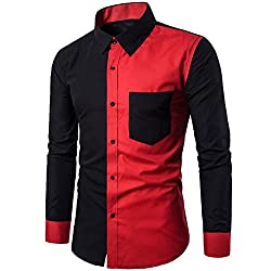 a013a18dae0 Rrimin Men Shirt Dress Shirt Long Sleeve Color Stitching Shirts(Black)(2XL)