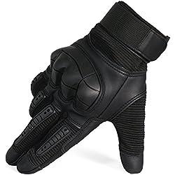 VIMOV Guantes para Moto, Guantes Tácticos para Hombre para los Deportes al Aire libre, Caza, Ciclismo, Tiro, Paintball, Airsoft, Negro, XL