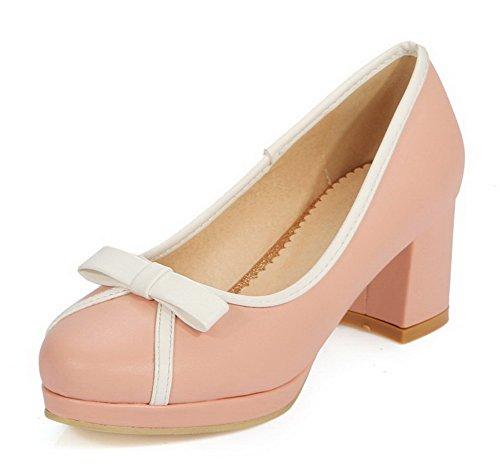 Damen Ziehen auf PU Rein Rund Zehe Pumps Schuhe, Pink, 39 AgooLar