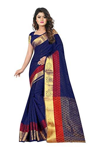 Nirja Creation Women's Blue color Fancy Partywear Banarasi Silk Saree