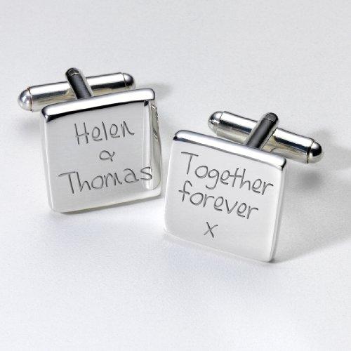 Manschettenknöpfe, personalisierbar, versilbert, quadratisch, tolles Geschenk für Hochzeiten