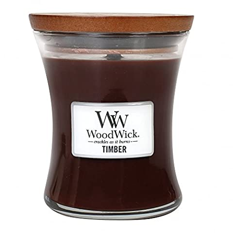 Woodwick Scented Candle - TIMBER 10oz glass jar with wooden