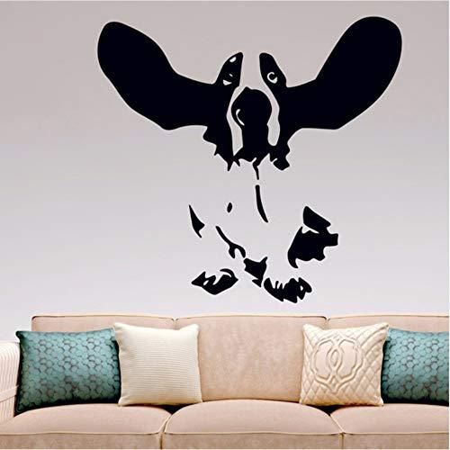 Ysain Basset Hound Wandtattoo Vinyl Aufkleber Wohnkultur Hunde Ohren Ohren Küche Schlafzimmer Wohnzimmer Wandkunst Wandtattoo 56 * 59 Cm (Fake Die Ohren Hund)