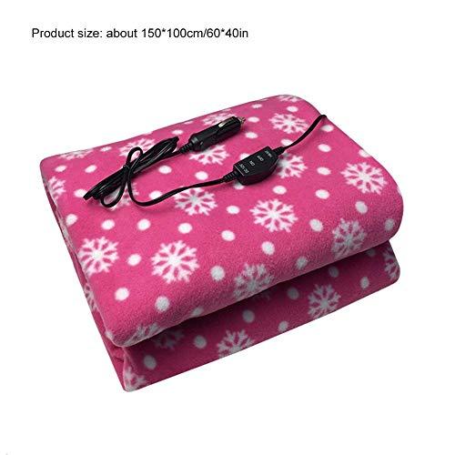 Eruditter Heizdecke 12v Elektrische Winterdecke Frische rosa Schneeflocke nett Auto-Heizdecke,Hoch/Niedrige Temperaturkontrolle Familienwinter