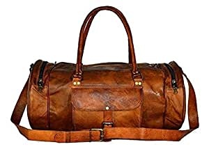 """20/"""" Real Brown Leather Duffle Bag Sports Gym Bag weekend Travel AirCabin Luggage"""