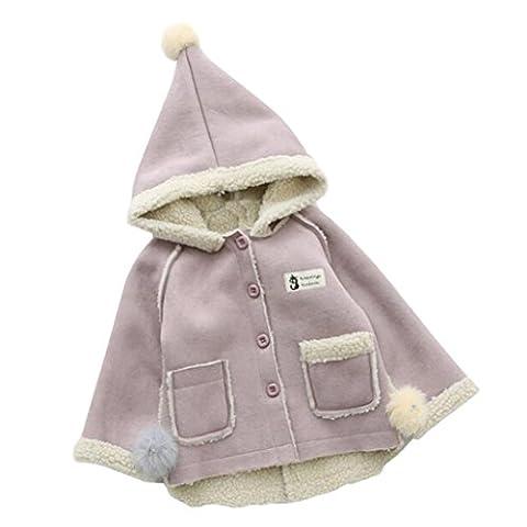 Longra Baby Kinder Mädchen Winddicht Übergangs jacken Draussen Kapuzenjacke für Mädchen Wintermäntel Winterjacke Softhelljacke Windbreaker Jacke Outwear Parka (0-5Jahre) (100CM 3Jahre, Purple)