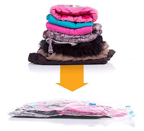 Vakuumbeutel Platzsparende Sealer - Vakuum Kleiderbeutel (5 Stück) - Kompression Packungen für Kleidung, Bettdecke, Decke, Handtuch Aufbewahrung (Triple-zip-tasche)