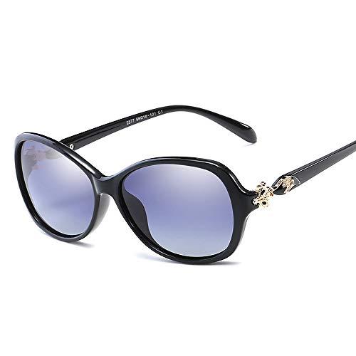 Easy Go Shopping Elegante Temperament Dame großen Rahmen Sonnenbrille Mode polarisierte Sonnenbrille Sonnenbrillen und Flacher Spiegel (Color : Schwarz, Size : Kostenlos)